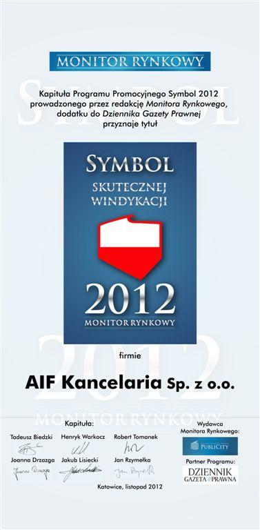 AIF Kancelaria zdobyła Sybmol Skutecznej Windykacji 2012