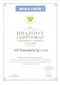 cartyfikat Biała Lista 2009