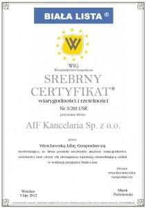 certyfikat Biała Lista 2012