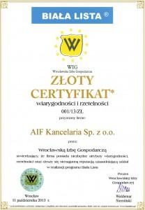 certyfikat Biała Lista 2013