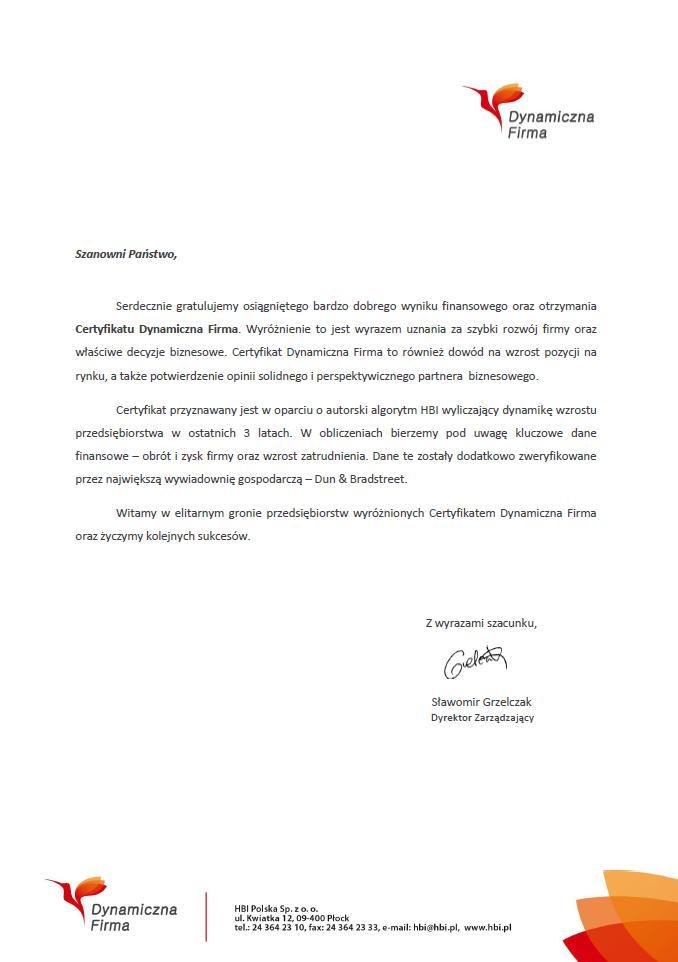 List Gratulacyjny za Certyfikat Dynamiczna Firma dla AIF Kancelaria