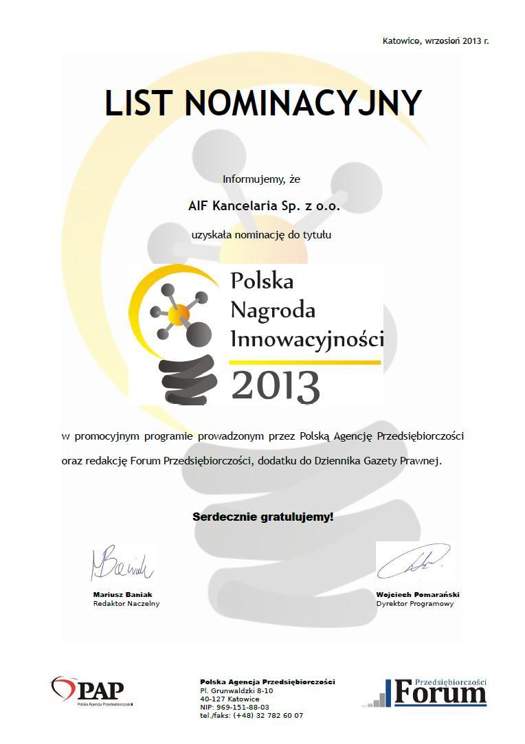 AIF Kancelaria nominowana do Polskeij Nagrody Przedsiebiorczości 2013