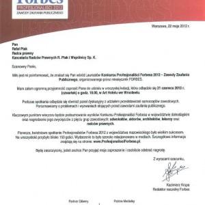Mec. Rafał Ptak Laureatem Konkursu Profesjonaliści FORBSA 2012