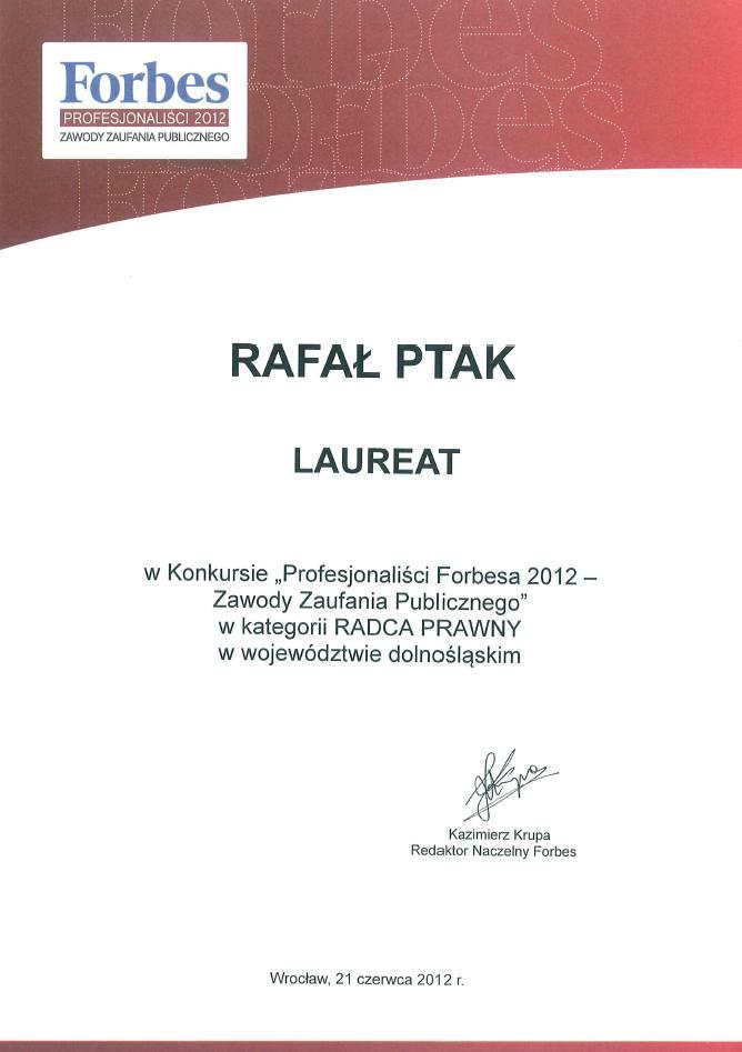 Mec. Rafał Ptak  Dyplom Profesjonaliści FORBSA 2012