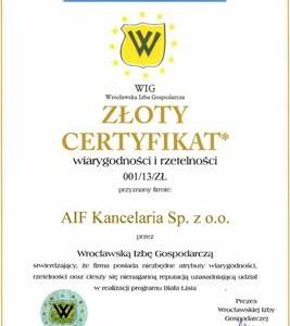 Złoty Certyfikat Białej Listy dla AIF Kancelaria